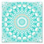 Turquoise & Cream Kaleidoscope Flowers Design