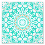Turquoise & Cream Kaleidoscope Flowers Design Photo