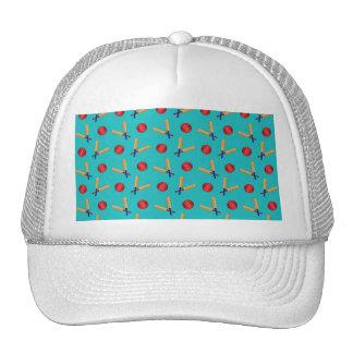 Turquoise cricket pattern trucker hats