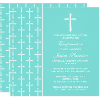 Turquoise Cross Holy Communion Or Confirmation Card
