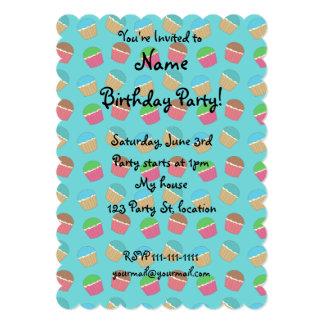Turquoise cupcake pattern 13 cm x 18 cm invitation card