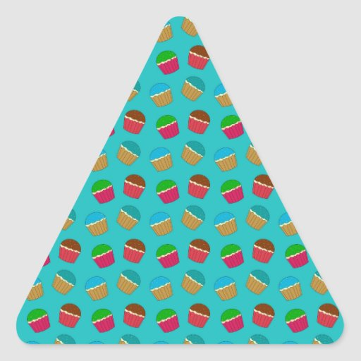 Turquoise cupcake pattern stickers