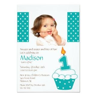 Turquoise Cupcake Photo Birthday Invitation