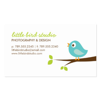 Turquoise Cute Bird on a Branch Business Cards