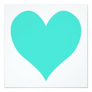 Turquoise Cute Heart 13 Cm X 13 Cm Square Invitation Card