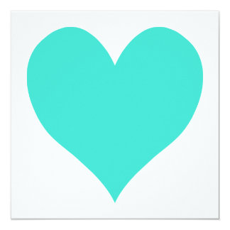 Turquoise Cute Heart Card