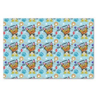 Turquoise Cute Yorkie Puppy Patterned Tissue Paper