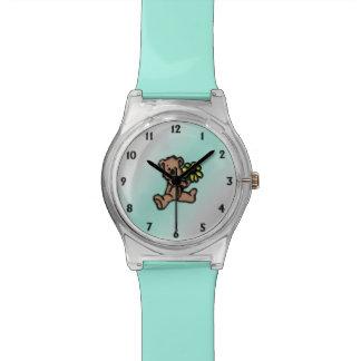 Turquoise Daisy Bear Design Watch