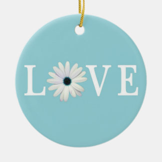 Turquoise Daisy Love Ornament
