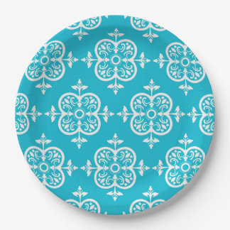 Turquoise  Damask 9 Inch Paper Plate