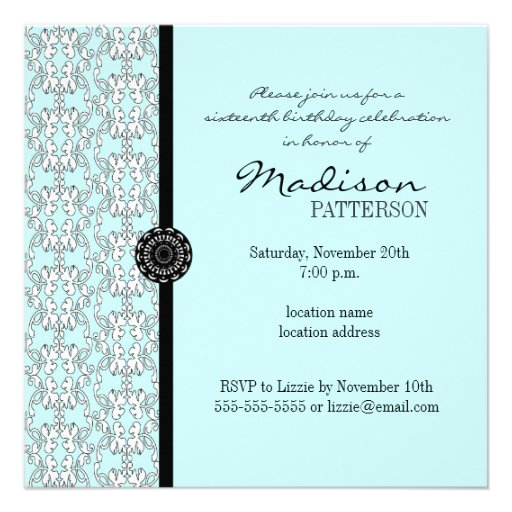 Turquoise Damask Baroque Sweet 16 Party Invitation