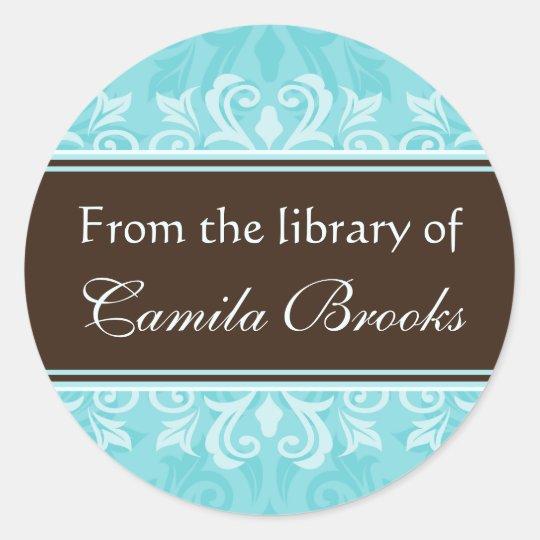 Turquoise damask bookplates/book labels/ex libris classic round