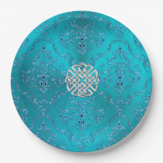 Turquoise Damask Celtic Knot 9 Inch Paper Plate