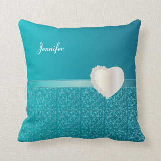 Turquoise Damask Design with a Diamond Heart Cushions