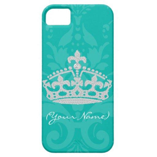 Turquoise Damask Diamond Princess Crown iPhone 5 Cover