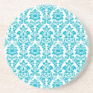 Turquoise Damask Drink Coasters
