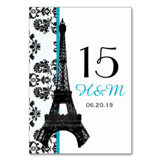 TURQUOISE DAMASK EIFFEL TOWER PARISIAN WEDDING TABLE CARDS