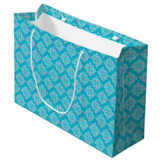 Turquoise Damask Large Gift Bag