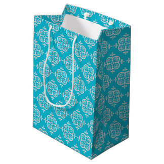 Turquoise Damask Medium Gift Bag