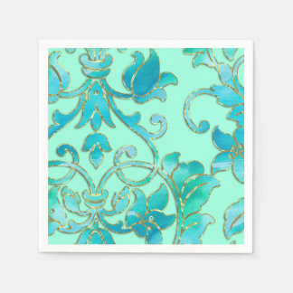Turquoise Damask on Any Color Background Disposable Napkins