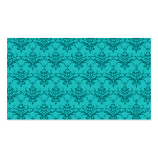Turquoise damask pattern business card templates