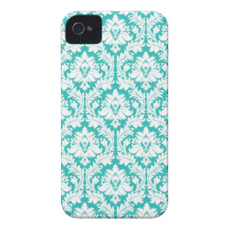 Turquoise Damask Pattern iPhone 4 Cases