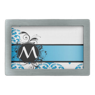 Turquoise damask pattern monogrammed belt buckle