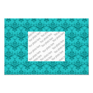 Turquoise damask pattern photographic print