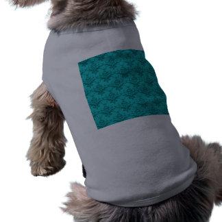Turquoise damask pattern sleeveless dog shirt