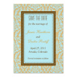 Turquoise damask -save the date invites