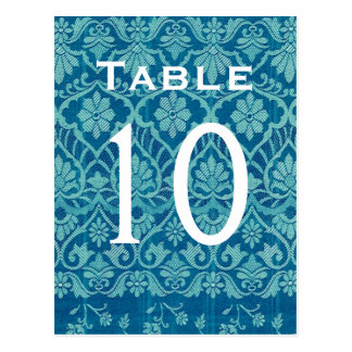 Turquoise Damask Wedding Table Number Card Recepti