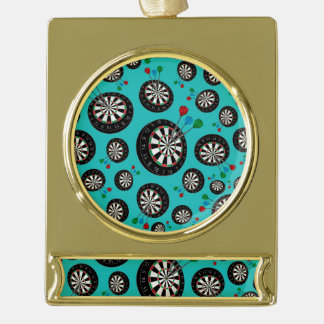 Turquoise dartboard pattern gold plated banner ornament