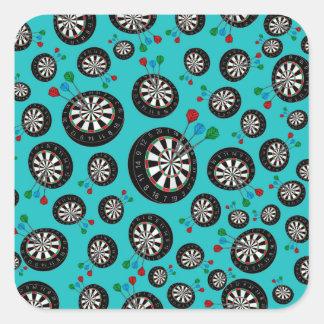 Turquoise dartboard pattern square sticker