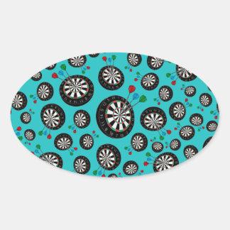 Turquoise dartboard pattern oval sticker