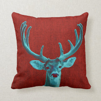 Turquoise Deer and Rustic Red Cushion