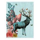 Turquoise Deer in Mushroom Forest 2 Postcard