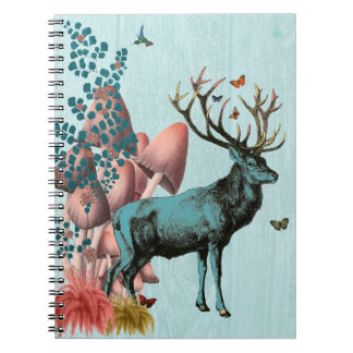 Turquoise Deer in Mushroom Forest 2 Spiral Notebook