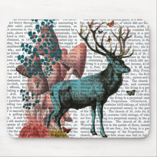 Turquoise Deer in Mushroom Forest Mouse Mat