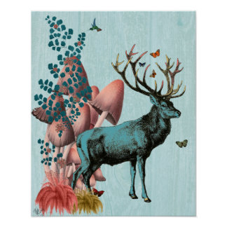 Turquoise Deer in Mushroom Forest Poster