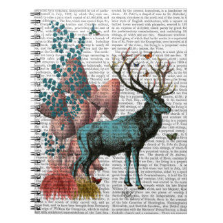 Turquoise Deer in Mushroom Forest Spiral Notebook