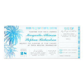 turquoise destination wedding tickets 10 cm x 24 cm invitation card