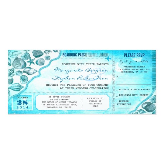 turquoise destination wedding tickets invitations