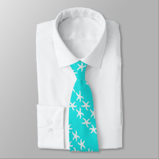 Turquoise Diagonal Starfish Summer Design Tie