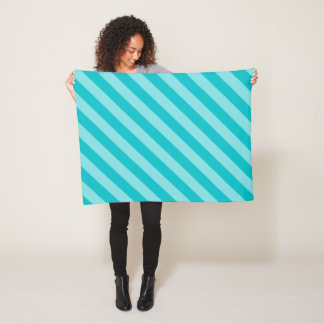 Turquoise Diagonal Stripe Pattern Fleece Blanket