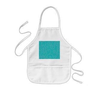 Turquoise diamond swirls kids apron