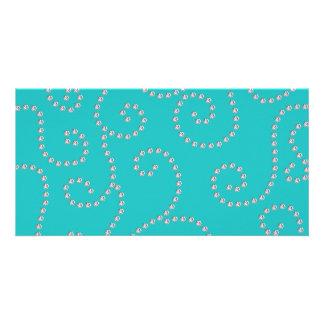 Turquoise diamond swirls photo greeting card