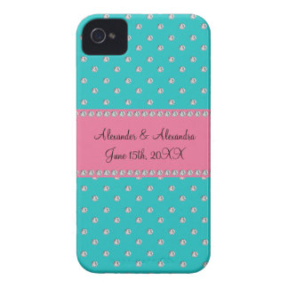 Turquoise diamonds wedding favors iPhone 4 covers