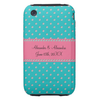Turquoise diamonds wedding favors tough iPhone 3 covers