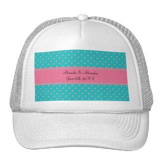 Turquoise diamonds wedding favors mesh hats