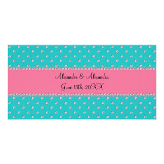 Turquoise diamonds wedding favors photo card template